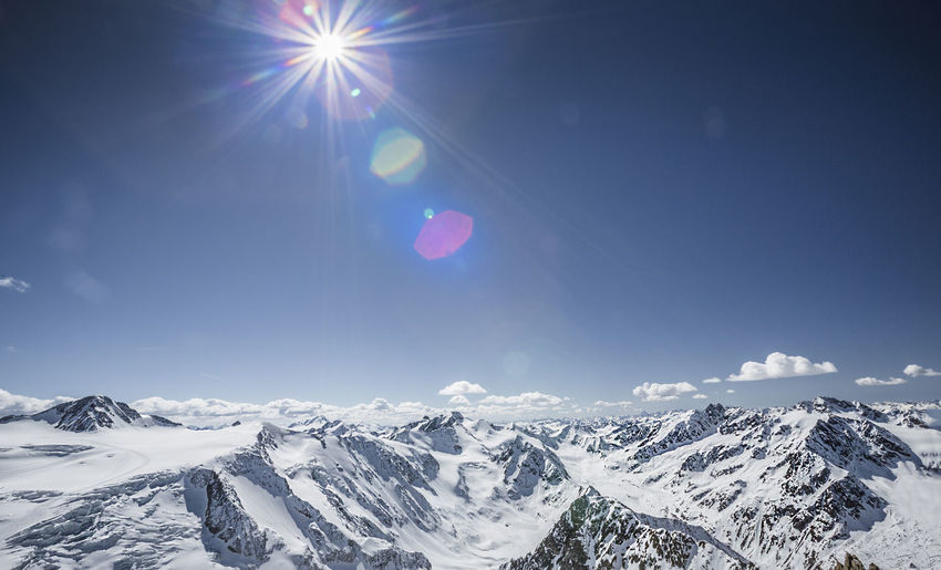 Panoramic view of Wildspitze, Tirol Alps, Austria Alpine Austria Holiday Kaunertal Panorama Südtirol Wildspitze Alps Avalanche  Beauty In Nature Freeride Glacier Lens Flare Mountain Pitztal Ski Mountaineering Ski Resort  Snow Sun Sunlight Switzerland Sölden Tranquility Unfiltered Winter