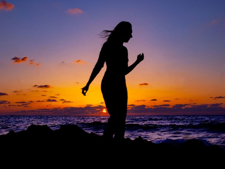 Beach walk Sunset Silhouette Sea Beach Beauty In Nature People Silhouette_collection Silhoutte Photography Silouette & Sky Fantasy Ocean View Ocean Woman Women Sillouette Nature Nature Silhouette