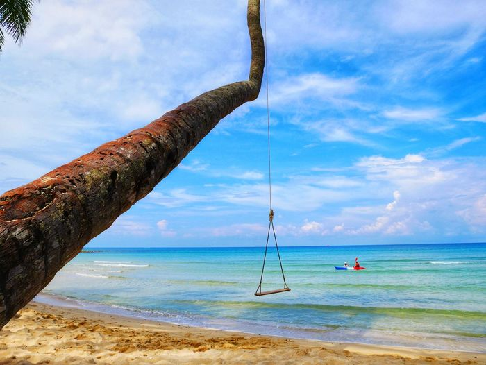 Koh Kood Beach Resort Tree Water Nautical Vessel Sea Beach Sand Rope Swing Blue Sky Horizon Over Water Longtail Boat Countryside Swing Playground Outdoor Play Equipment