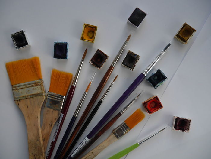 Ten colors, ten brushes. Colors No People Half Pan Watercolor Ink Painting Ten EyeEm Selects Studio Atelier Painter Aniversary Tenyears TenYearAnniversary Palette Variation Paintbrush Brush 10