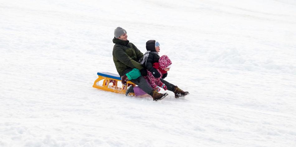 Winter fun Amusement  Distraction Entertainment Fun Move Outdoors People Sleigh Snow Winter