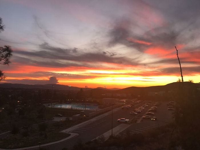 Sunset Sky Dramatic Sky Car Transportation Cloud - Sky Road No People Architecture Land Vehicle Built Structure Nature Scenics Outdoors Beauty In Nature City Cityscape Mountain Building Exterior Tree EyeEmNewHere Solarpanels Socalhiking Yucaipa