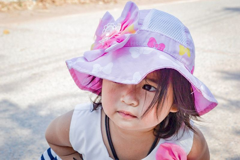 Nuna Nikon D3100 EyeEm Selects Portrait One Person Real People Headshot Childhood Lifestyles Child Sunlight Front View Girls Looking At Camera Females Hat Pink Color Women