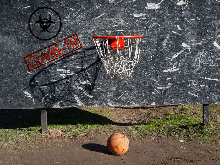 High angle view of basketball hoop against wall