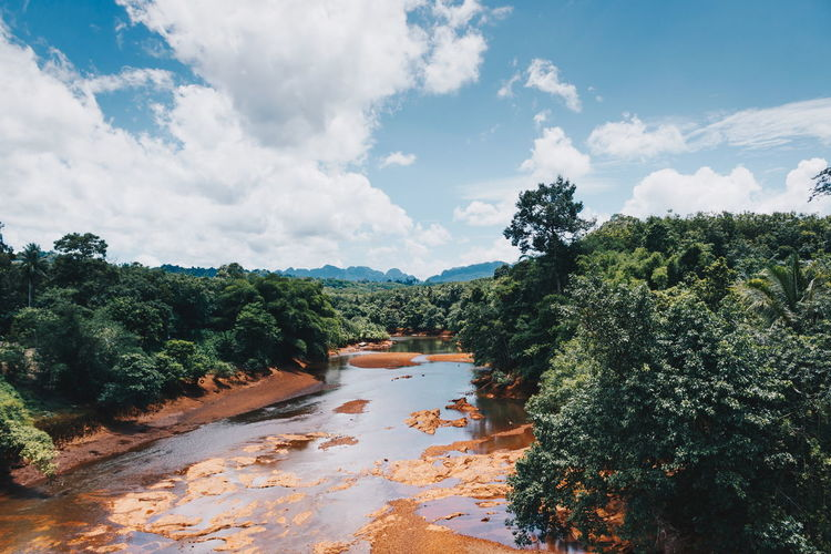 Landscape of blue sky and white cloud over the mountain river and forest, Travel location at Suratthani in Thailand Nature Thailand View Blue Sky Countryside Forest Landscape Mountain River Riverscape Sky Summer