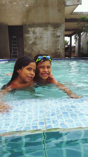Brother & Sister Water Swimming Child Swimming Pool Smiling Togetherness Happiness