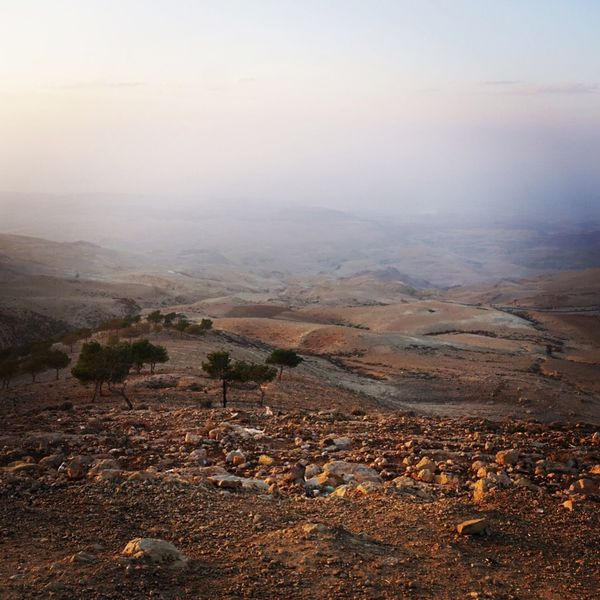 Jordan Israel Mountnebo Holyland Tranquil Scene Landscape Nature Scenics Tranquility Beauty In Nature No People Outdoors Mountain Desert Sky Arid Climate Barren Fog Day