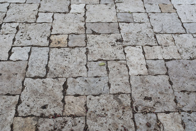 Full Frame Backgrounds Pattern No People Footpath Day Textured  High Angle View Stone Stone Material Paving Stone Solid Outdoors Concrete