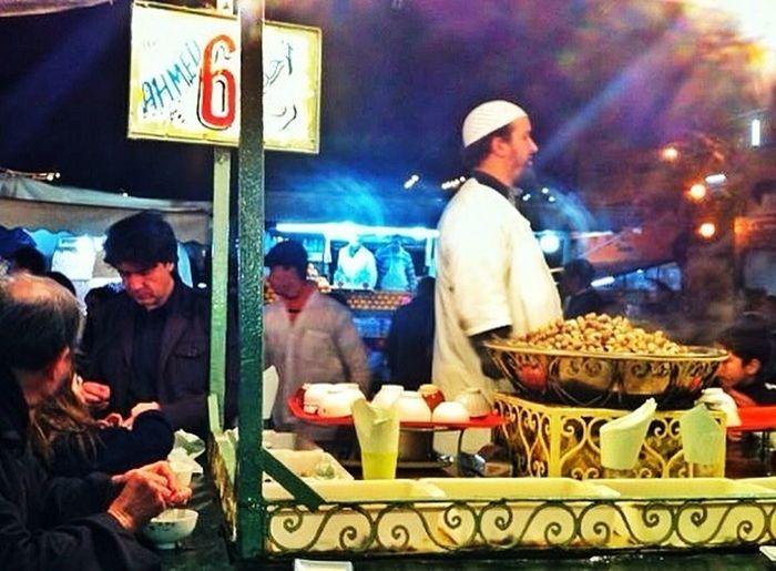 Dinner in Martakech. Snails.