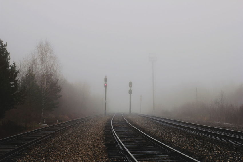 Fog Railroad Track Rail Transportation Transportation Weather Train - Vehicle No People Winter Social Issues Outdoors The Way Forward Day Steam Train Cold Temperature Dawn Tree Photography Themes Locomotive Sky Nature