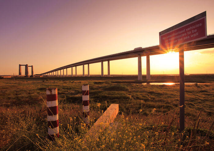 Sheppey Crossing Architecture Bridge Evening Kent Night No People Outdoors Sheppey Sheppey Crossing Sign Sky Sunrays Sunset
