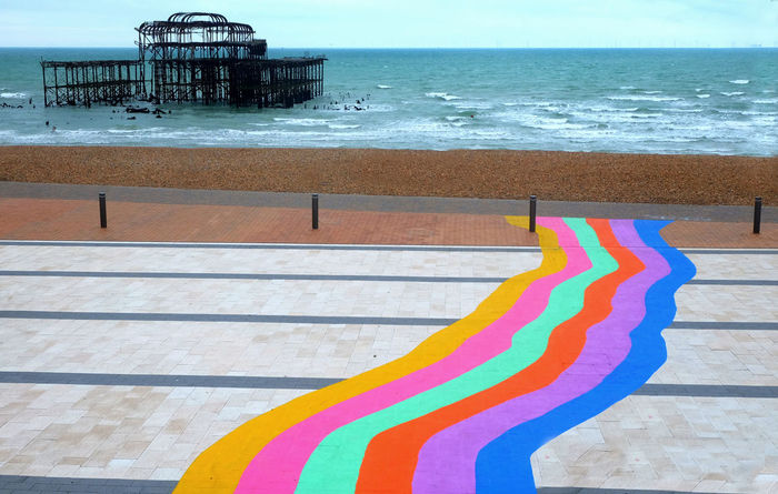 Brighton Brighton Beach Brighton Pride Brighton Pride 2018 Rainbow Colors Architecture Beach Beauty In Nature Built Structure Day Horizon Horizon Over Water Land Multi Colored Nature No People Outdoors Rainbow🌈 Sand Sea Sky Striped Tranquil Scene Tranquility Water