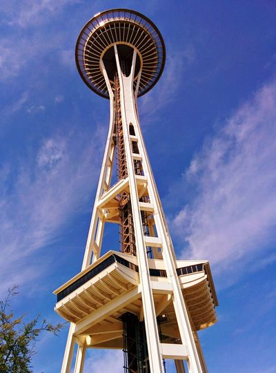 Space Needle Space Needle Seattle Low Angle View Tower Sky Built Structure Architecture No People Pacific Science Center Landmarks Travel Travel Destinations Tourism Tourist Destination Astronomy Science Outdoors Technology Day