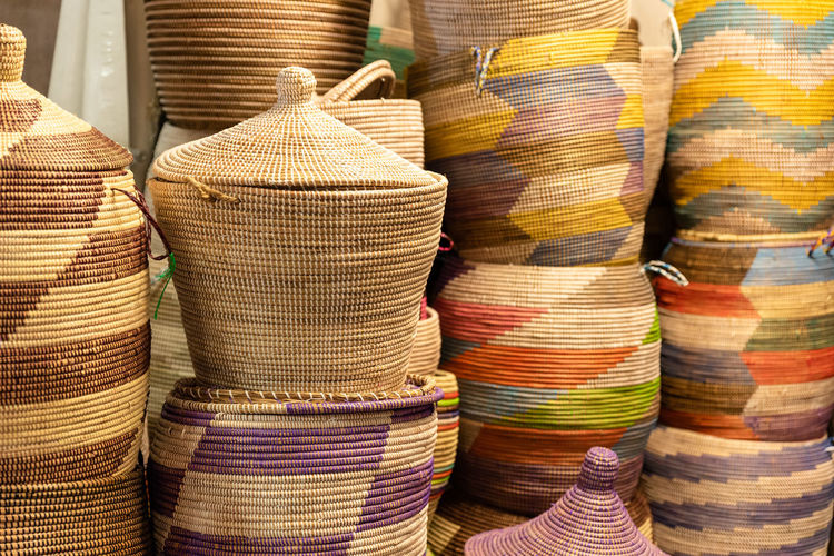 Stack of multi colored for sale at market