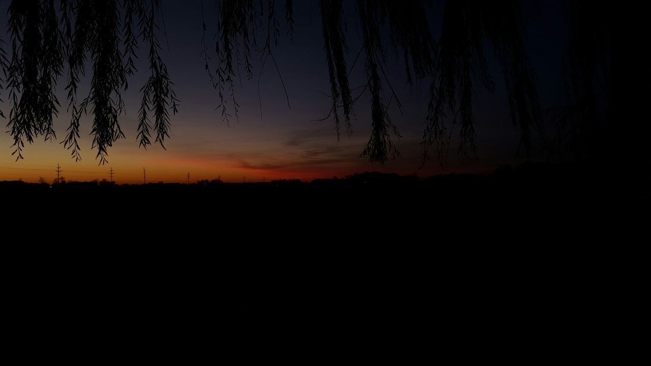silhouette, sunset, tranquil scene, nature, sky, tranquility, scenics, dark, beauty in nature, landscape, no people, outdoors, tree, day