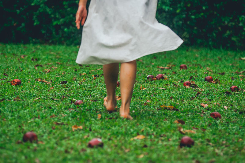 Low Section Of Woman Walking On Field