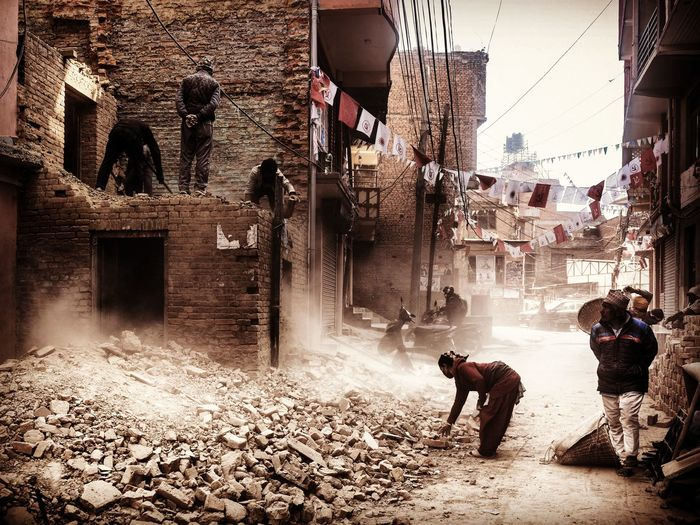 People working in city