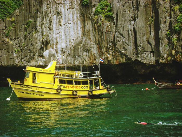 Phi Phi Islands IA Island Travel Travel Destinations Sightseeing Sightseeing Spot Thailand Krabi Thailand Visiting Boat Sea Water Snorkeling Water Nautical Vessel Moored Famous Place International Landmark Ferry Sailing Tourboat