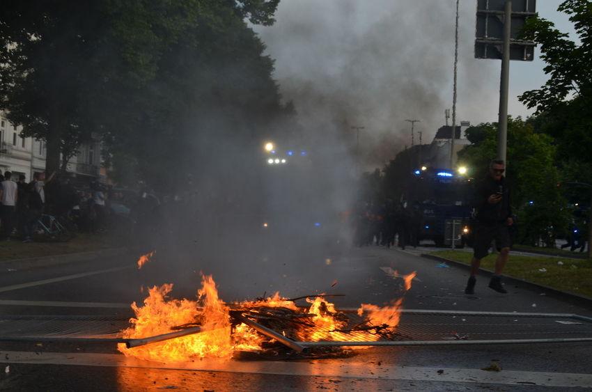 Burning Barricades in Hamburg at G20 Summit Antifa Violence Riot Gear Riot Police Riot Demolition Democracy Demonstration Cops Black Bloc Aufstand G20 Protest G20 Sternschanze G20 Hamburg G20 Gipfel G20 Summit