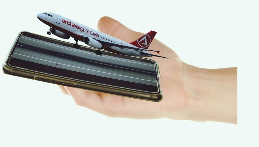 Cut And Paste Mail Human Hand Human Body Part White Background One Person Adult People One Man Only Close-up Only Men Day Aircraft Atlasglobal Mobilephone