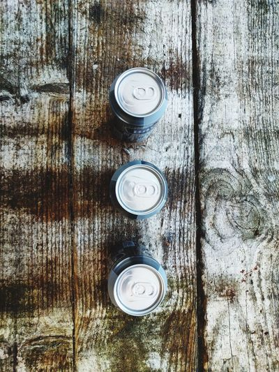 Directly above shot of cans on table