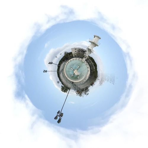 Italy Picoftheday Round Shape Fisheye Rollworld Diving Platform Swimming Pool Rolled Up Sky Cloud - Sky Circle Low Angle View Architecture Day Built Structure Building Exterior No People Planet Earth City Fish-eye Lens Cityscape Outdoors