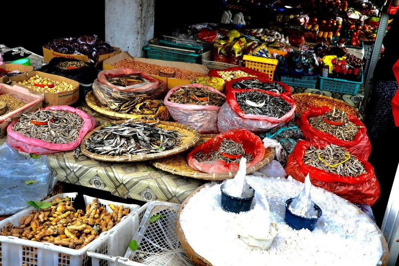 High angle view of various for sale in market