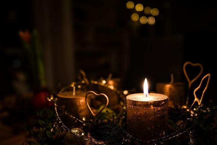 Xmas Xmas Decorations Burning Candle Christmas Decoration Close-up Flame Illuminated Night No People