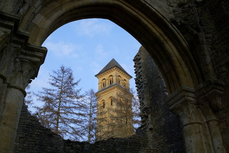 Abbey Arch Ark Backlight Backlighting Beer Bell Tower Blue Sky Building Exterior Church Façade Orval Orval Abbey Orval Beer Outdoors Tower