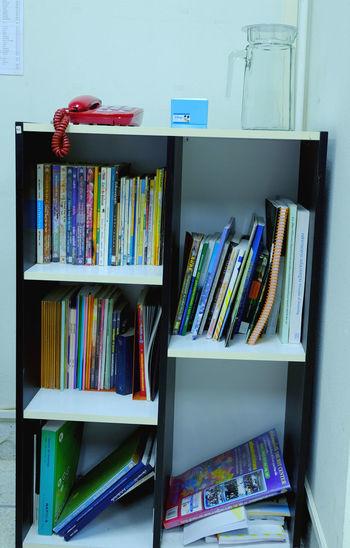 Books in shelf at home