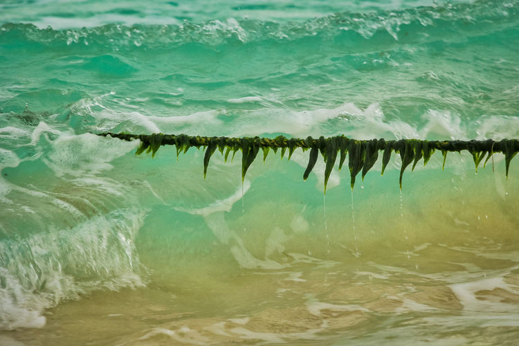 Scenic view of rope on sea