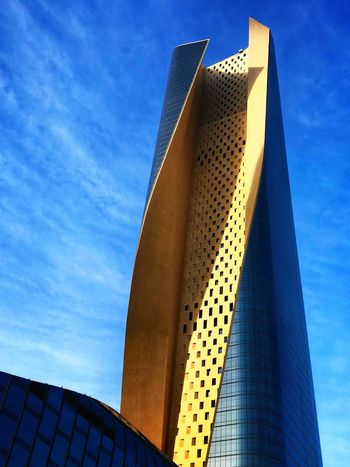 Amazing architecture in Kuwait City IPhoneography UrbanBeauty Architecture Modern Built Structure Low Angle View Building Exterior Skyscraper Sky Day Blue Outdoors City Travel Destinations