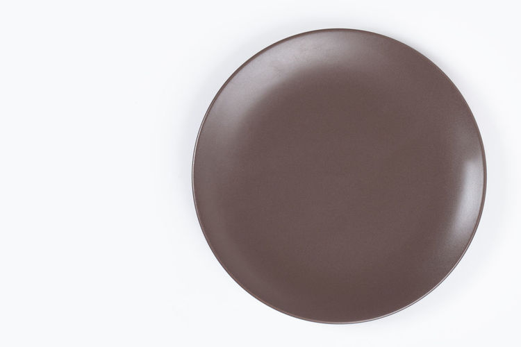 Background Blank Bowl Brown Ceramic Circle Clean Copy Dining Dinner Dish Dishware Empty Food Isolated Kitchen Lunch Meal Nobody Object One Plate Restaurant Round Single Space Studio Style Top View White