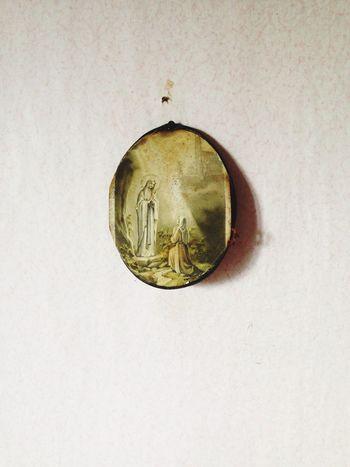 Religious Icons Old Fashion Greenish Wornout Maria Christian Christianity Christianism