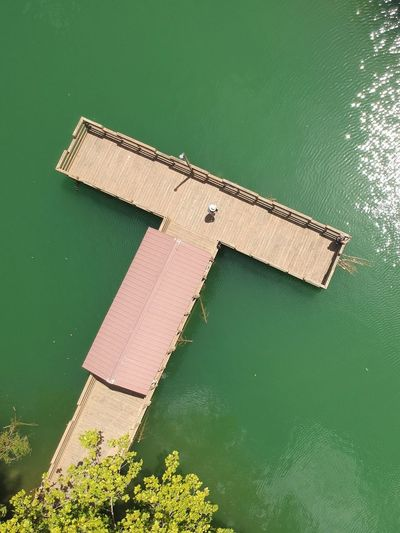 High angle view of dock by lake