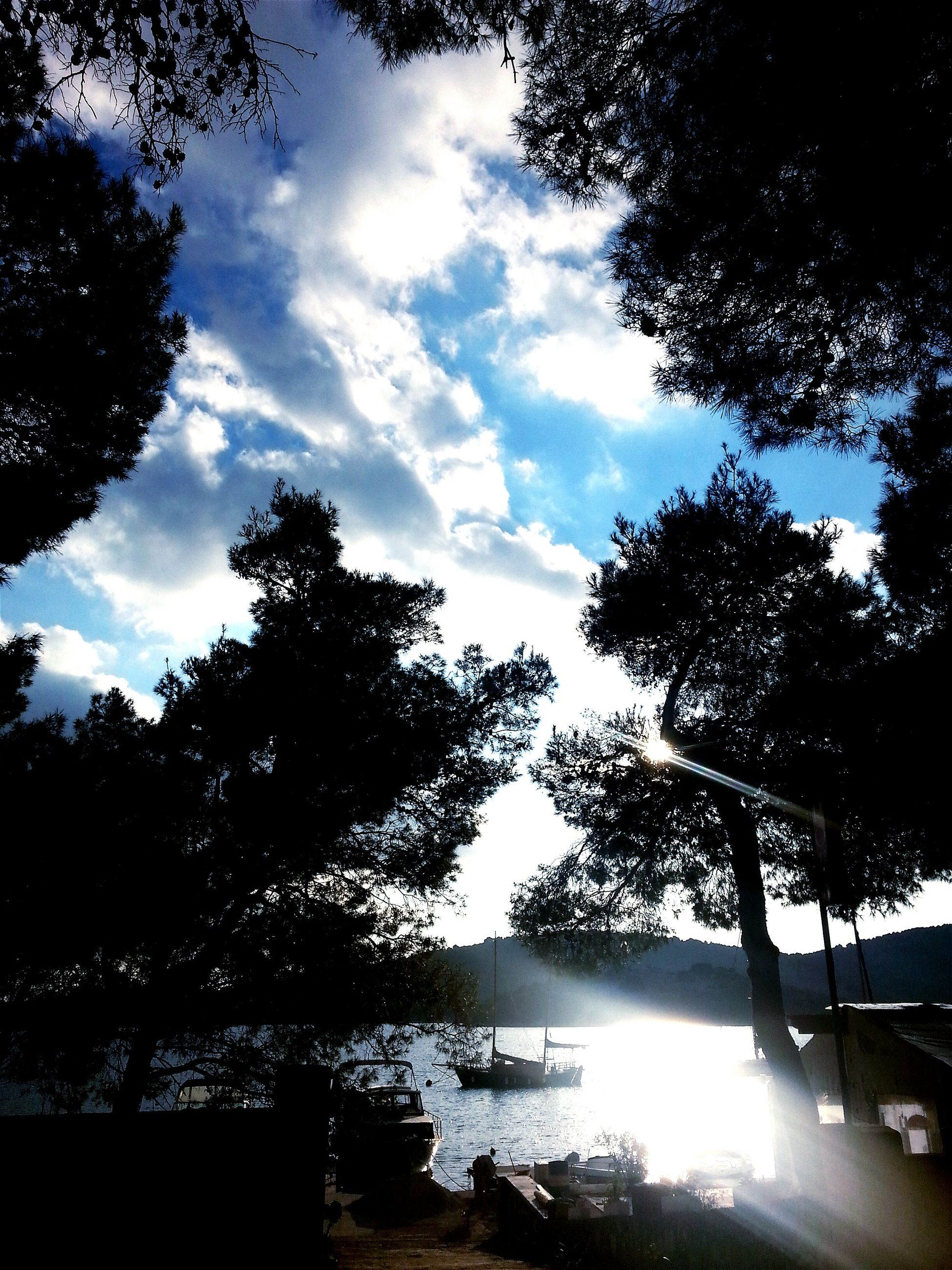 tree, sky, water, cloud - sky, sun, silhouette, sunlight, sunbeam, nature, tranquility, cloud, tranquil scene, beauty in nature, lake, nautical vessel, growth, scenics, river, cloudy, outdoors