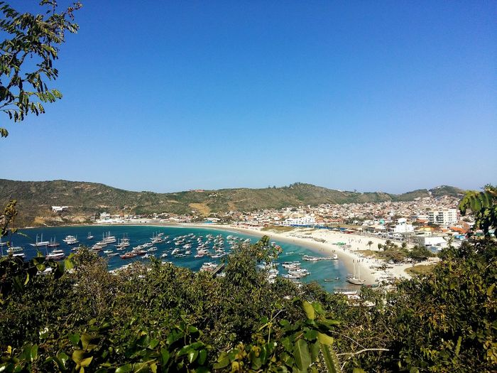 High angle view of arraial do cabo against clear blue sky