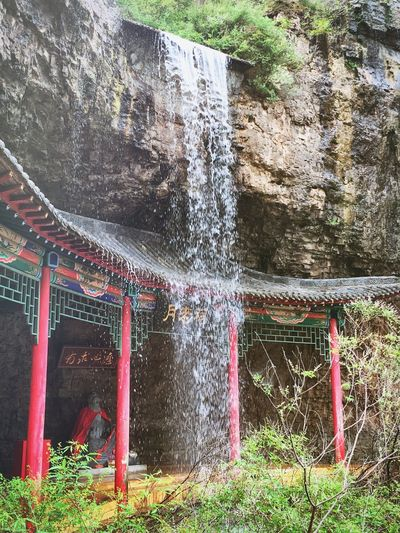 Temple Temple - Building Temples Temple Architecture Templephotography Temple Square Waterfall Waterfalls Waterfall_collection the temple of a Chinese god who unites persons in marriage Cliff Cliffs Cliffside matchmaker