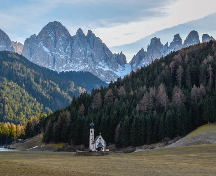 San Giovanni in Ranui's church in the Funes Valley, Trentino, Italy. Alpi Alps Forest Italy Landscape Mountain Mountain Peak Mountain Range Nature Night No People Odle Outdoors Pinaceae Snow Sunset Tree Trentino  Trentino Alto Adige Val Di Funes