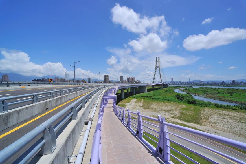 Landscape viaduct leading to both places Broad City Construction Path Taiwan Traffic Aisle Architecture Bridge Bridge - Man Made Structure Built Structure Cloud - Sky Day Extend Nature New Taipei City No People Outdoors Road Sky The Way Forward Transportation Viaduct Water