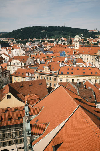 High angle view of townscape, prague