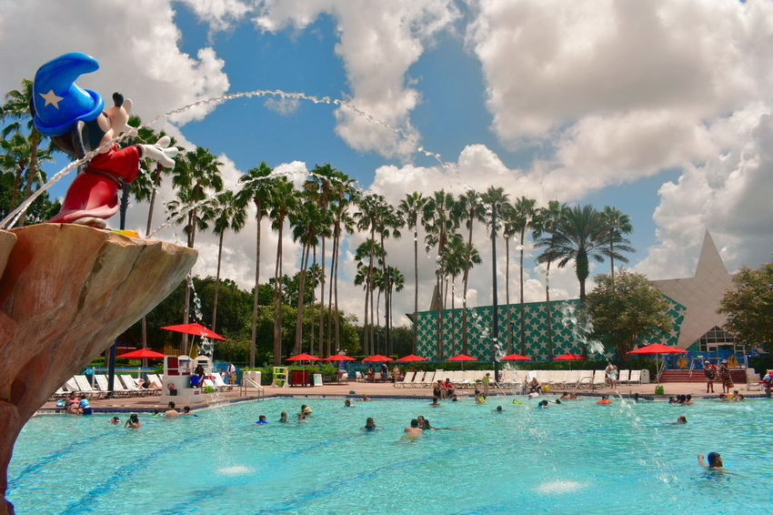 Orlando, Florida USA August 05, 2018 Pool View, Mickey Mouse, Value Hotels in Orlando, Florida Walt Disney World DisneyWorld Disney Hotels Balloon Disney Store Taxi Boat Mickie Mouse Coca Cola Planet Hollywood Restaurant Art Decor Shopping Rollercoaster Disney Springs Attraction Theme Park Boardwalk Fireworks Summer Show Travel Tourism Italian Food Latin Food Magic