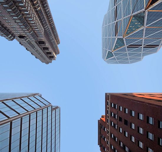 Buildings NYC New York Building Exterior Low Angle View Outdoors No People Sky Blue City Modern