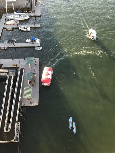 Top view of boate Water Travel Travel Destinations False Creek, Vancouver, BC Granville Street Bridge Granville Island Public Market Transportation Paddleboards Outdoors Sea