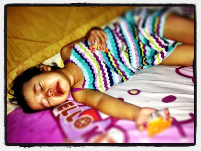 Baby D crying, she's so sleepy.. & her brother can't stop bothering her..