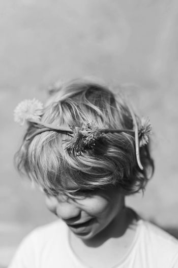 Childhood Real People Boys Blond Hair Close-up Lifestyles People Elementary Age One Person Focus On Foreground Day Sunlight Flower Flowercrown  TheWeekOnEyeEM Summertime Sunshine Spring Blackandwhite Black And White Photography Dandelion Dandelions Kids Kids Being Kids Kidsphotography The Week On EyeEm Editor's Picks