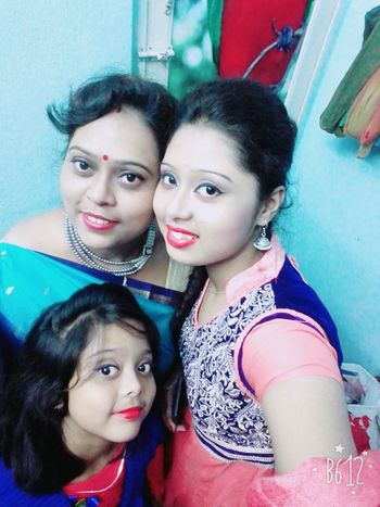 Me my mom and my sweet little sister and we love each other .. Looking At Camera Togetherness Love Smiling Happiness Lifestyles