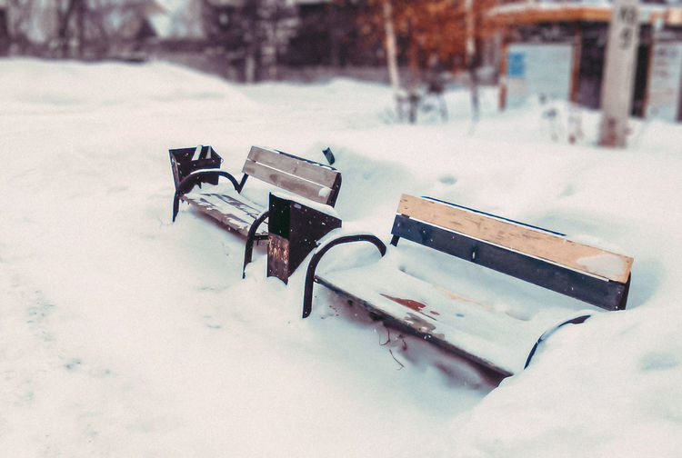 2017 Bench Blur Close-up Cold Cold Days Cold Temperature Day January Low Angle View No People Outdoors Park Perspective Russia Siberia Snapseed Snow Snow ❄ VSCO VSCO Cam Vscocam Vscogood Winter Winter