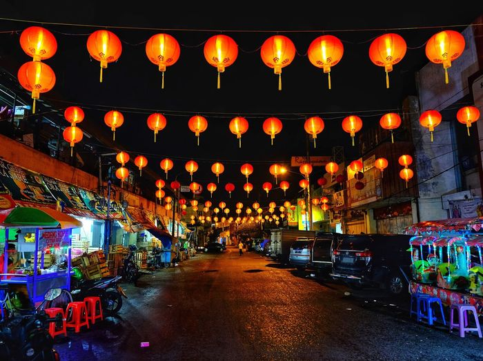 Another side Lighting Equipment Lantern Illuminated Chinese Lantern Hanging Decoration Night Traditional Festival Architecture Chinese Lantern Festival Chinese New Year Celebration In A Row Festival Event Outdoors Paper Lantern Nightlife