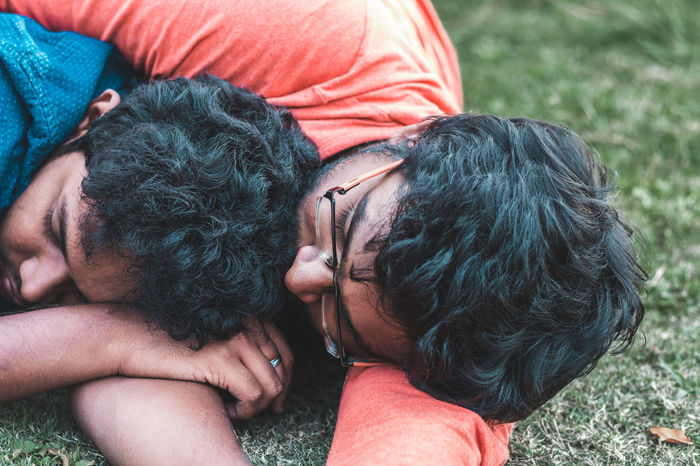 Lifestyles Yercaud Travel Fashion Emotion Portrait Hair Grass People Love Male Human Close-up Perspective The Portraitist - 2018 EyeEm Awards Men Togetherness Headshot Close-up Casual Clothing Sleeping Eyes Closed  Resting Lying Napping Love Is Love